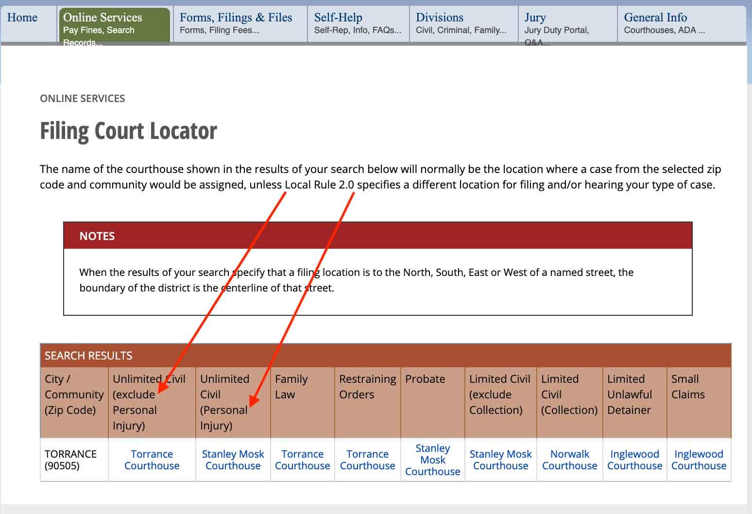 LASC Court Locator Screenshot