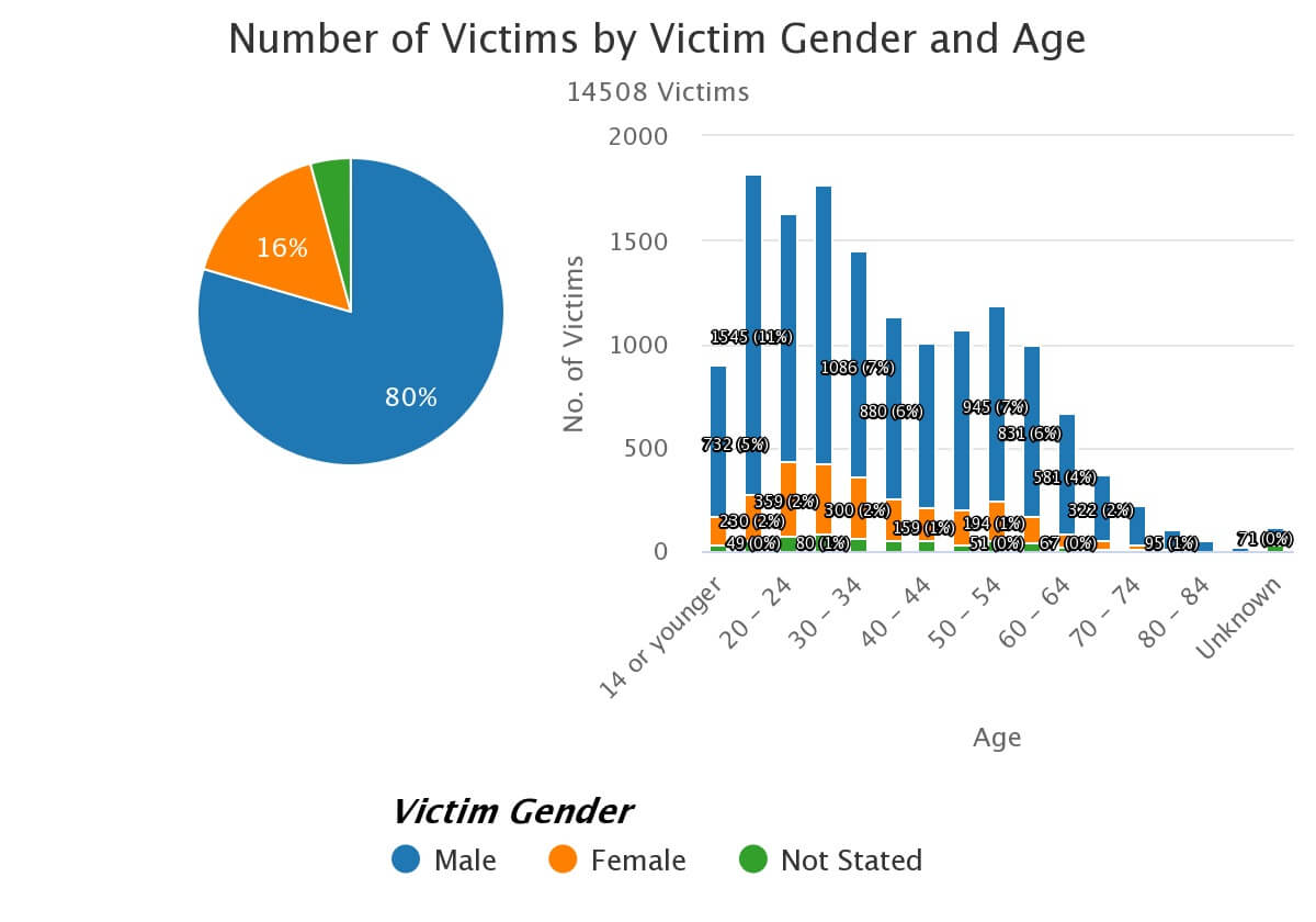 CHP Gender related bike accidents pie chart statistics