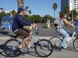 Riders headed to Marina del Rey, from Malibu Beach on rented bikes.