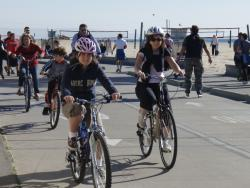 Bicyclists with helmets.