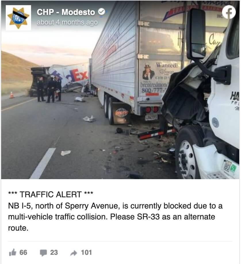 I-5 Freeway, Patterson, CA CHP Twitter Feed April 30, 2020 Fedex Accident