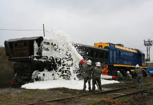 Foam sprayed on train container.