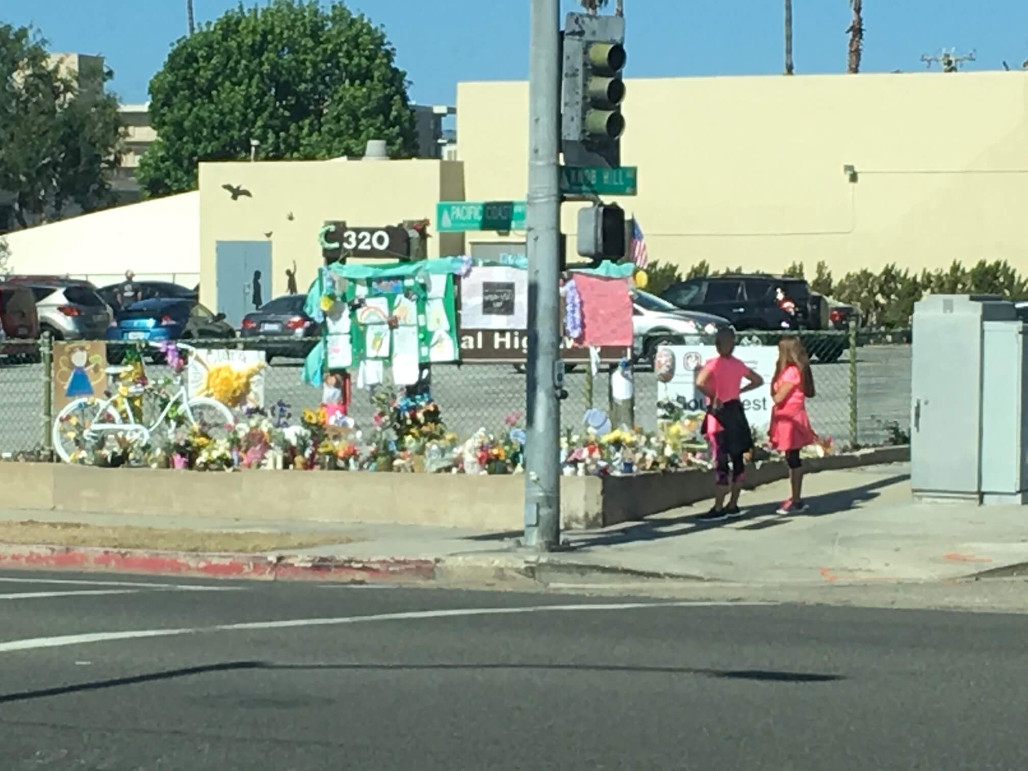 Memorial for two children kiled in bicycle accident in Redondo Beach, CA.