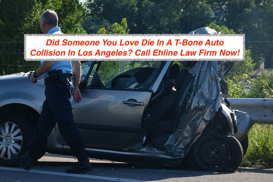 Example of a car cut in half by a T-Bone collision in Los Angeles, CA.
