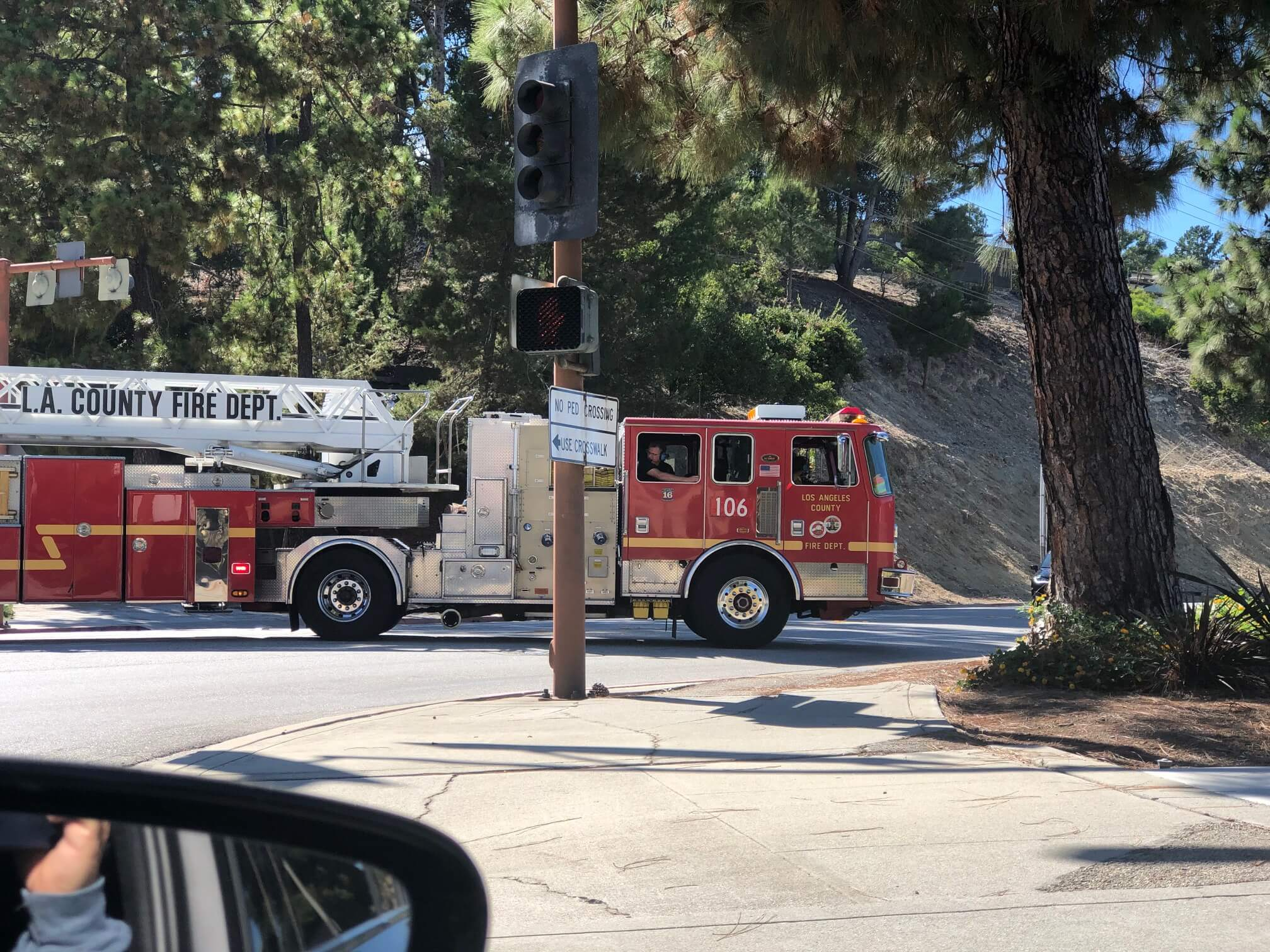 Fire and ladder truck in Rancho Palos Verdes, CA