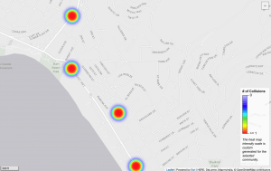 Heat Map - Laguna Beach Dangerous Intersections for Motorcyclists.