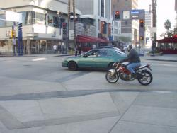 Rider on a motorbike in Los Angeles, CA>