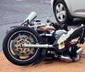 Crashed bike laid down