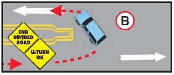 DMV image depicting a legal U-turn movement from the top view angle.